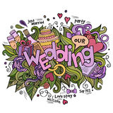 Wedding hand lettering and doodles elements Royalty Free Stock Images