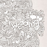 Wedding hand lettering and doodles elements sketch Stock Images