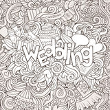 Wedding hand lettering and doodles elements sketch Stock Image