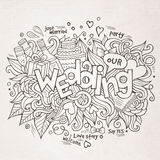 Wedding hand lettering and doodles elements sketch Stock Photos