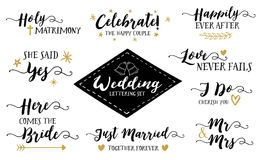 Wedding Hand Lettering Phrases Vector Set Stock Image