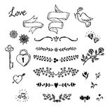 Wedding hand made graphic set flowers, ribbons and decorative elements. Vector design elements decorations for wedding. Stock Images