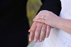 Wedding Hands. A married couple holding their hands Royalty Free Stock Photo