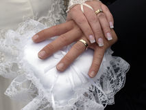 Wedding Hands. Wedding rings on fingers royalty free stock photo
