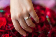 Wedding Hands. Ands with rings, marry successful royalty free stock photography