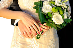 Wedding hands with bouquet Stock Photography