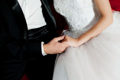 Wedding hands of couple Royalty Free Stock Photos