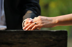 Wedding hands bride and groom royalty free stock image