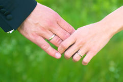 Wedding hands holding each other Royalty Free Stock Image