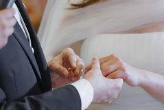 Wedding hands and ring Royalty Free Stock Photos