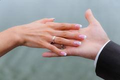 Wedding hands with rings. Wedding hands with golden rings Royalty Free Stock Images