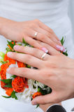 Wedding hands with rings. Wedding hands with golden rings Stock Images