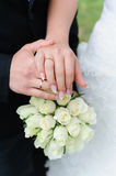Wedding hands with rings. Wedding hands with golden rings Stock Photography
