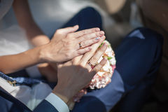 Wedding hands with wedding rings Royalty Free Stock Photo