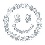 Wedding and happy birthday lined icons set on the Stock Photography