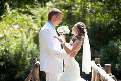 Wedding - happy bride and groom Stock Image