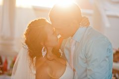 Wedding - happy bride and groom kissing Royalty Free Stock Image