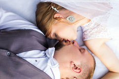 Wedding, happy bride and groom view from the top Royalty Free Stock Photography