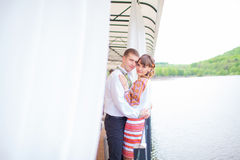 Wedding happy couple in lake Royalty Free Stock Image