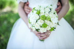 Wedding. Happy wife beauty flowers wedding royalty free stock images