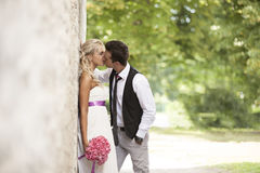 Wedding, happy young man and woman celebrating Royalty Free Stock Photography