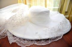 Wedding Hat. Women Wedding hat before the ceremony Stock Photos