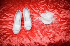 Wedding hat and shoes Stock Images
