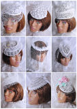 Wedding hat with a veil Stock Photo