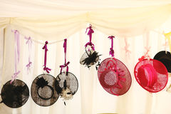Wedding Hats. Weddings hats hanging from a ribbon Royalty Free Stock Photo