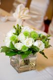 Wedding Head Table Centerpiece Closeup. Wedding Head Table Floral Centerpiece Closeup Stock Photos
