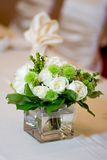 Wedding Head Table Centerpiece Closeup. Wedding Head Table Floral Centerpiece Closeup Stock Photography