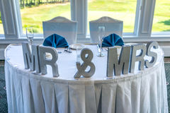 Wedding Head Table Setting. With Mr & Mrs letters Royalty Free Stock Photo