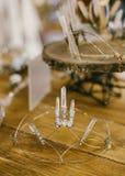 Wedding Headpiece. Crystal wedding headpiece on wooden table Royalty Free Stock Image