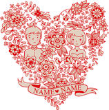 Wedding heart with flowers and birds. Royalty Free Stock Photography