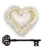 Wedding heart with rusty key. Stock Photos