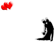 Wedding and hearts. Wedding background with couple kissing and hearts Stock Photos
