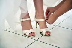 Wedding heel shoe stock photography
