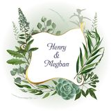 Wedding herbal frame. Wedding invitation frame with leaves, succulents, twigs and plants. Herbal garland with greenery and green vegetation. Template design card vector illustration