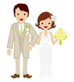 Wedding -Heterosexual Couple -Bobbed hair Bride Royalty Free Stock Photos