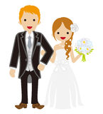 Wedding -Heterosexual Couple -Braid hair Bride. Wedding Couple Braid hair Bride. Cute Simplicity icon stock illustration