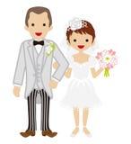 Wedding -Heterosexual Couple -Short hair Bride-EPS10 Royalty Free Stock Photography