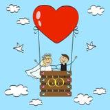Wedding in a hot air balloon. Vector illustration Stock Photography