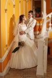 Wedding hotel. Bride and groom at wedding hotel . Siberia, Novosibirsk, winter Stock Photo