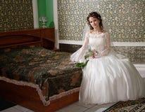 Wedding hotel. Bride at wedding hotel . Siberia, Novosibirsk, winter Royalty Free Stock Photography
