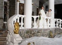 Wedding hotel. Bride and groom at wedding hotel . Siberia, Novosibirsk, winter Stock Photos