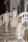 Wedding hotel. Bride and groom at wedding hotel . Siberia, Novosibirsk, winter Royalty Free Stock Photo