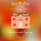 Wedding house for newlyweds over colorful blurred background. Stock Photography