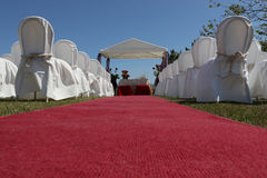Wedding hut and red carpet Stock Image
