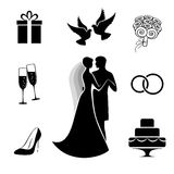 Wedding icon collection isolated on white. Bride and groom with some wedding icon collection isolated on white background. Vector illustration Royalty Free Stock Photo