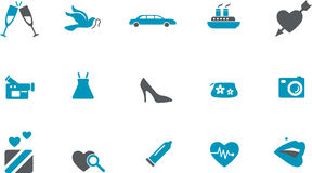 Wedding Icon Set. Vector icons pack - Blue Series, wedding collection Stock Image